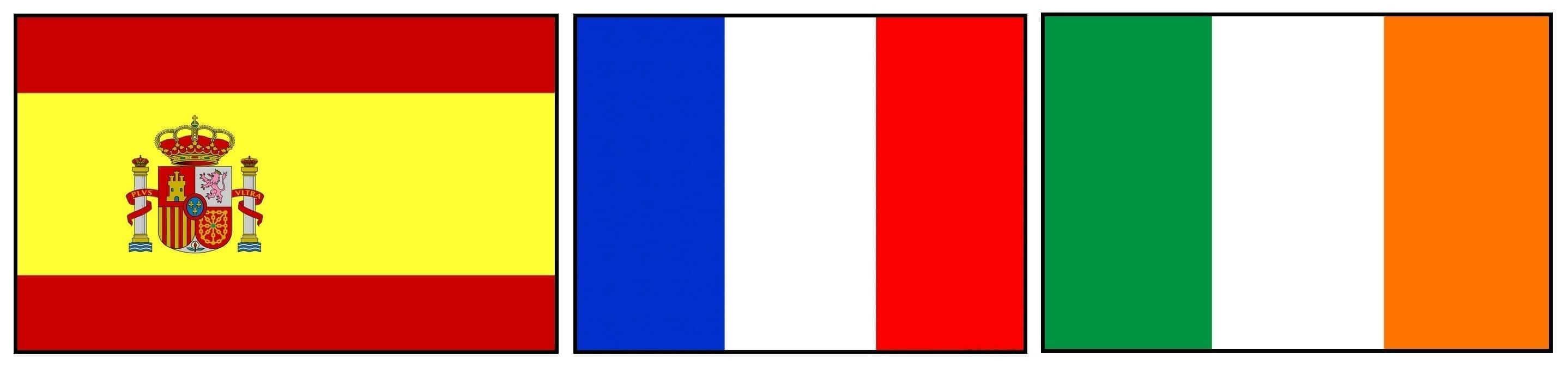 Spanish, French and Irish flags