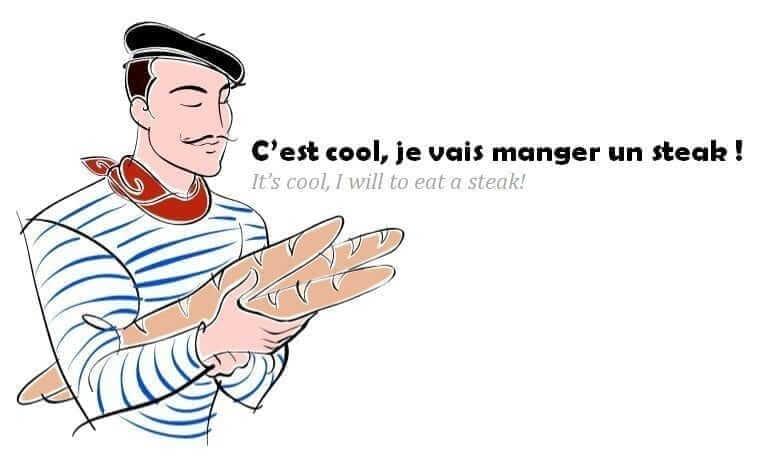 C'est cool, je vais manger un steak ! English words in the French language
