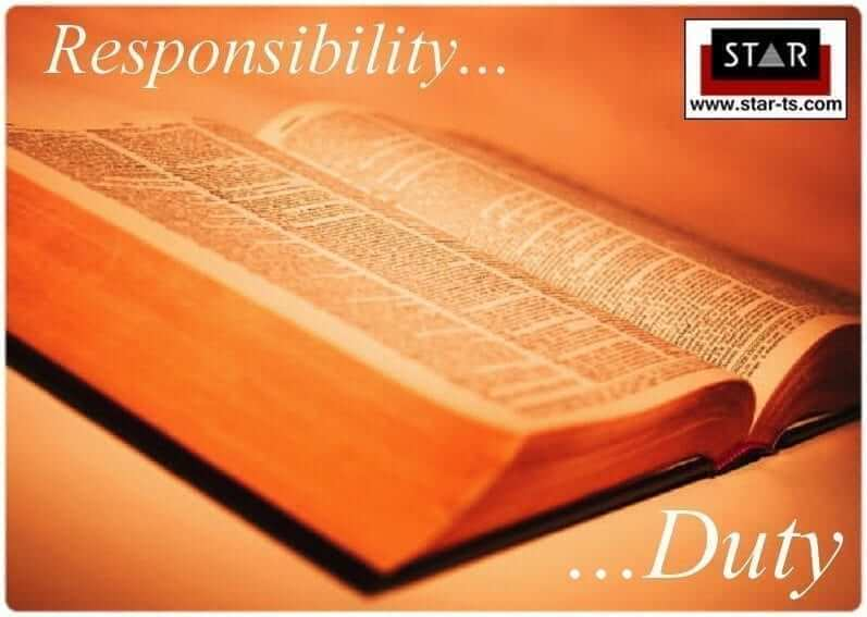 Meanings: difference between duty and responsibility in English