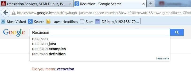 Recursion, Google trick