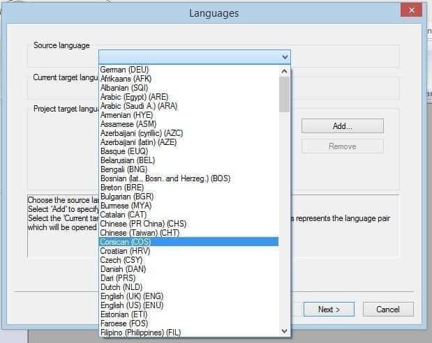 Language selection drop-down menu in Transit NXT