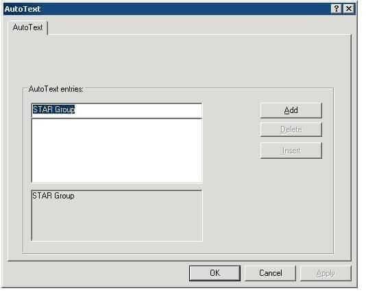 AutoText window